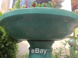 Vintage Garden Decor Aqua Glazed Pottery Bird Bath Pedestal & Basin