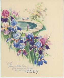 Vintage Garden Flowers Blue Purple Irises Bluebird Bird Bath Poetry Card Print