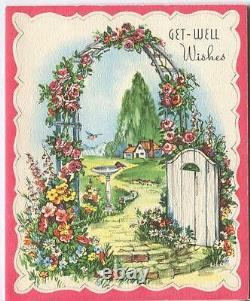 Vintage Garden Roses Arbor Trellis Bird Bath Botanical Gardens House Card Print