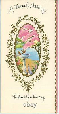 Vintage House Spring Season Bird Bath Garden Iris Tulips Larkspur Card Art Print
