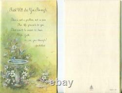Vintage Jon Gilbert Blue Birds Bird Bath Garden Flowers Scripture Verse Art Card