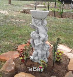 Vintage Pedestal Birdbath Garden Sculpture Statue Bird Bath Art Yard Water Bowl