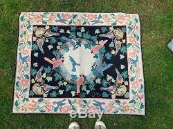 Vintage Retired claire murray hooked rug Garden Series Birdbath