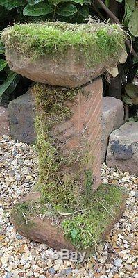 Vintage Solid Sandstone Bird Bath Birdbath Stone Garden Ornament Bird Feeder