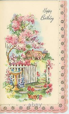 Vintage Spring Season Garden Pink Flowers Bird Bath Fence Birthday Card Print