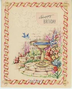 Vintage Stone Pavements Bluebird Bird Bath Garden Flowers Country Card Art Print