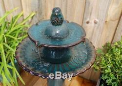 Vintage Tiered Birdbath Luxurious Garden Bird Bath Fountain Pedestal Raised Bowl