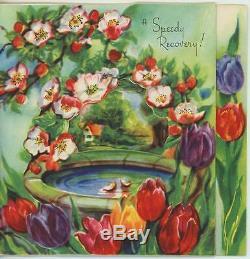 Vintage Tulips Flowers Bird Bath House Garden Blossoms Greeting Card Art Print