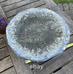 Vintage Used Ornate Round Cast Iron Metal Bird Bath Water Feeder Garden Patio