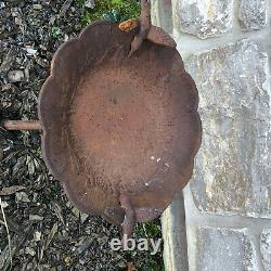Vintage Victorian Garden Cast Iron Hummingbird Bird Bath Yard Architectural Art