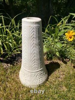 Vintage White Pottery 2 pc Garden Bird Bath USA Red Wing