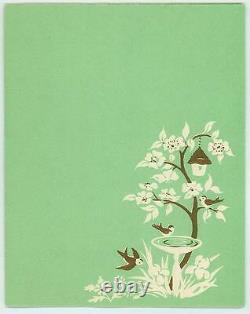 Vintage White Silhouette Garden Iris Flower Bird Bath Tree Bird House Card Print