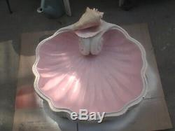 Vtg -Large MID CENTURY-Tropical Paradise Fiberglass Shell Birdbath-Garden Statue