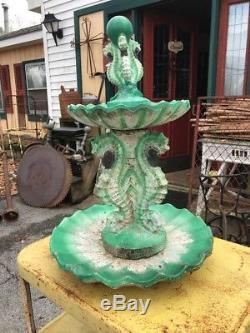 Vtg RARE Cement Seahorses Table Top Beach Decor Garden Art Birdbath Feeder