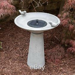 Water Fountain Solar On Demand Cement Modern Patio Garden Bird Bath Outdoor New