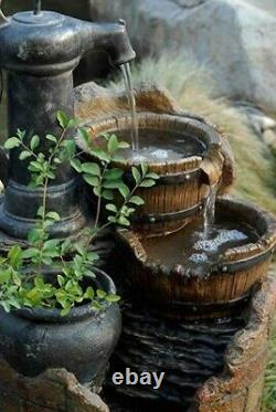 Water Pump Cascading Fountain Electric Waterfall Birdbath Outdoor Garden