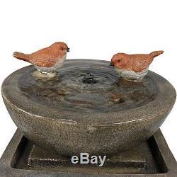 Water Stone Fountain Bird Bath Garden Patio Deck Landscaping Decorative Outdoor