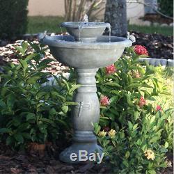 Weathered Stone Finish Outdoor Resin Solar Fountain Bird Bath Patio Garden Decor