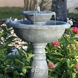 Weathered Stone Finish Outdoor Resin Solar Fountain Bird Bath Yard Garden Patio