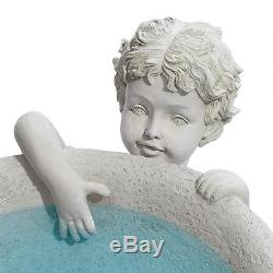 Whimsical Young Boy Sculpture Pedestal Birdbath Yard Garden Decor NEW