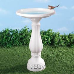 White Pedestal Birdbath Feeder Plastic Bird Bath Water Holder Garden Birds NEW