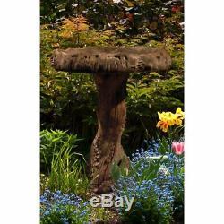 Wood Bird Bath Pedestal Outdoor Garden Yard Decor Water Bowl Outdoor Fountain