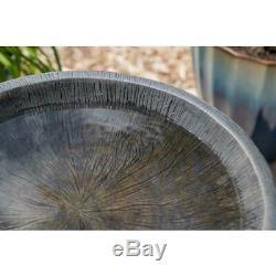 Wood Grain Outdoor Water Bird Bath Garden Decoration Yard Pedestal Freestanding