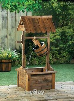 Wood Wishing Well Garden Fountain Outdoor Living Patio Yard Bird Bath Waterfall
