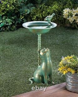 Yard Garden Decor Cat Design Aluminum 21.25 Bird Bath Birdbath