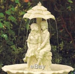 Young Couple Water Fountain Boy Girl Statue Birdbath Outdoor Garden Decor
