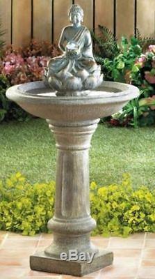 Zen Buddha Pedestal Water Fountain Bird Bath LED Orb Light Garden Decor Lawn
